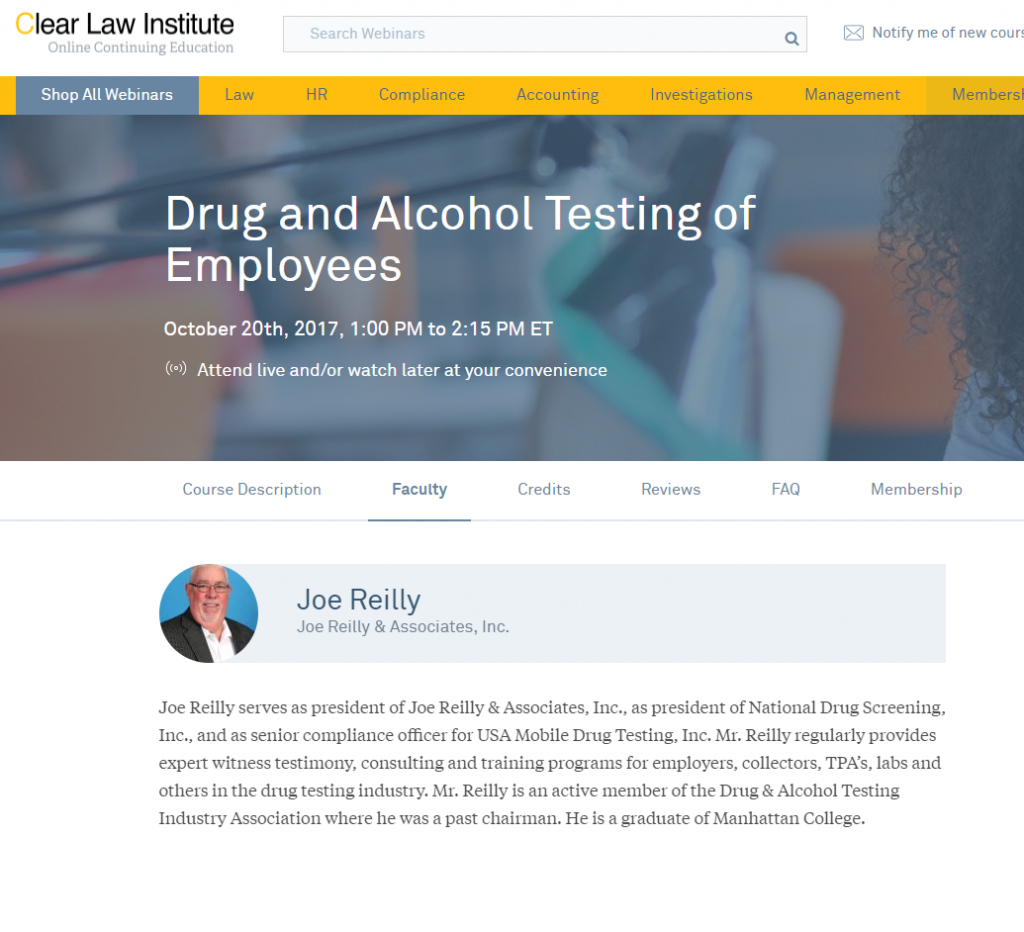 Upcoming Webinar: Drug and Alcohol Testing of Employees Oct. 20, 2017
