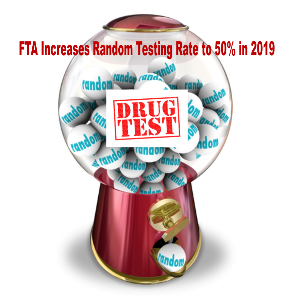 Transit Industry Random Drug Testing Rate to Increase to 50% beginning January 1, 2019