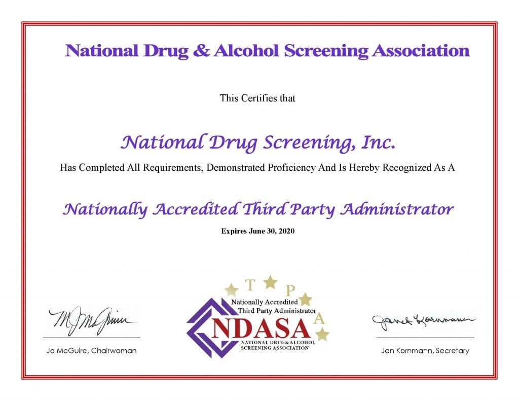 National Drug Screening Awarded Accreditation
