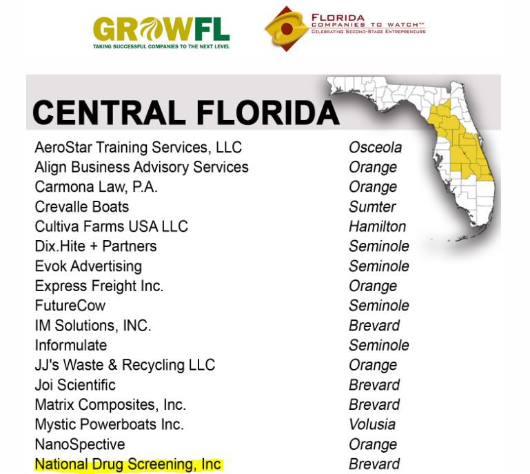 GrowFL Announces National Drug Screening is 9th Annual Florida Companies to Watch Finalist
