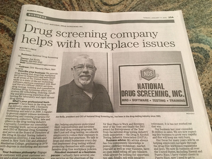 Company President Joe Reilly Featured in Florida Today Newspaper