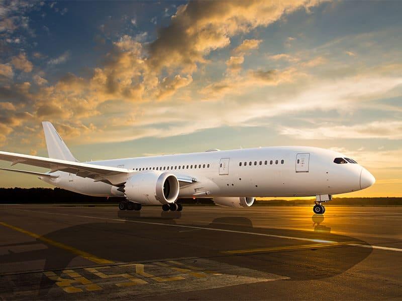 Large airplane on runway
