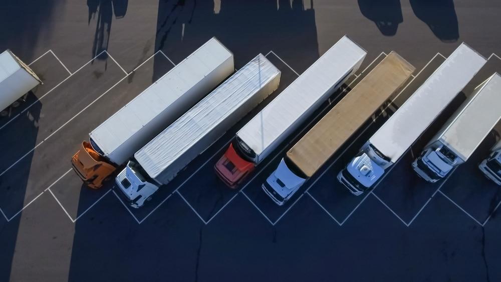 Top view of many Semi-Trucks