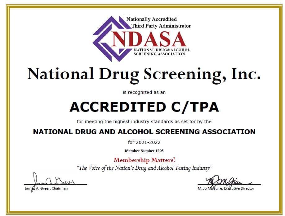 NDASA Accreditation Certificate