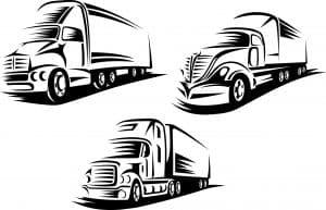 DOT Trucking Company, three black line work trucks