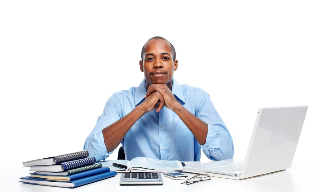 manager with different forms of paperwork on a white background